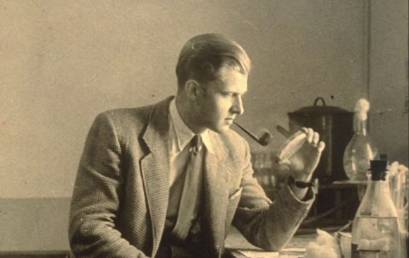 ivan villax smoking pipe inside the lab in the 50s